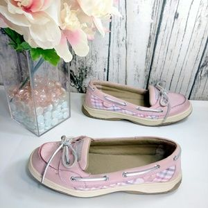 Sperry Top-Siders pink plaid sequin leather shoes